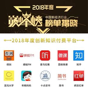 """2018中国新经济行业年度巅峰榜""""获奖名单"""